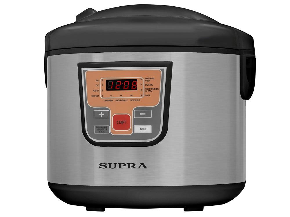 цена на Мультиварка SUPRA MCS-5111 черный-серебристый, 900 Вт, 5 л,10 программ автоприготовления