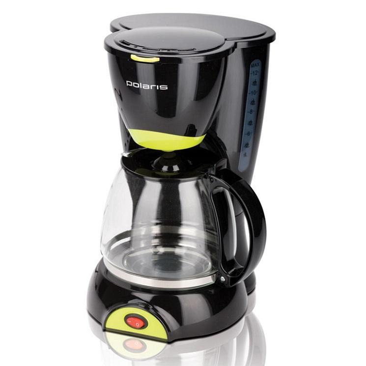 Кофеварка POLARIS PCM 1211, Черный/салатовый кофеварка капельного типа polaris pcm 1211 black green