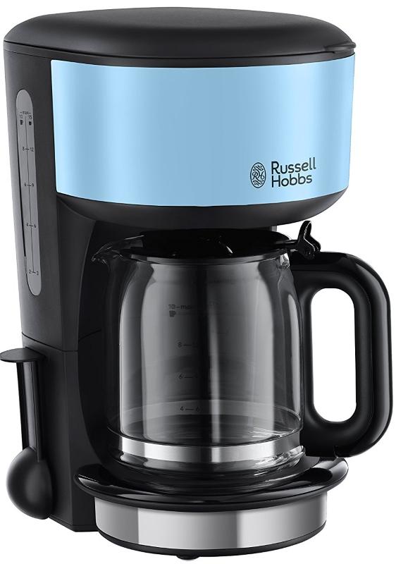 Кофеварка Russell Hobbs 20136-56, капельная, д/молотово, 1000Вт, 1.25л, автоподогрев, противокапля, черный/голубой