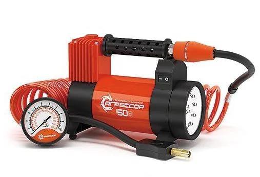 Компрессор автомобильный Агрессор AGR-50L, металлический, 12V, 280W, производ-сть 50 л./мин., переходники для накач. лодок, LED фонарь, сумка, 1/6 diy 6 digital led electronic clock kit 9v 12v at89c2051
