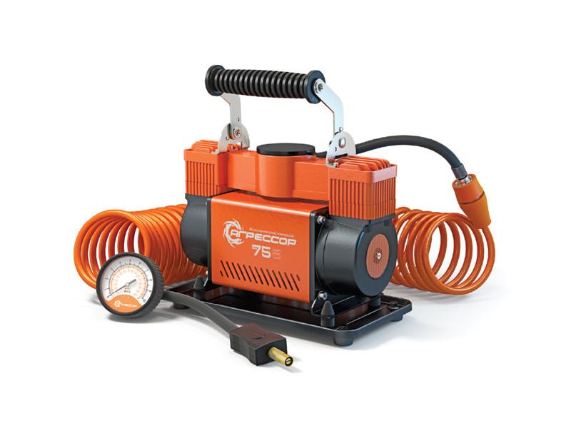 Компрессор автомобильный Агрессор AGR-75, металлический, двухпоршневой, 12V, 300W, производ-сть 75 л./мин., переходники для накач. лодок, сумка, 1/4 компрессор автомобильный агрессор agr 30l металлический 12v 140w производ сть 30 л мин led фонарь сумка 1 8