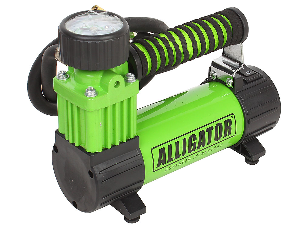 Компрессор автомобильный АЛЛИГАТОР AL-300Z, металлический, 12V, 100W, производ-сть 26 л./мин., спонж. рукоятка, переходники для накач., сумка, 1/8 автомобильный компрессор аллигатор al 350