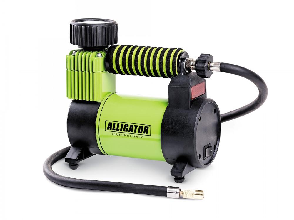 Компрессор автомобильный АЛЛИГАТОР AL-350Z, металлический, 12V, 120W, производ-сть 30 л./мин., спонж. рукоятка, переходники для накач., сумка, 1/8