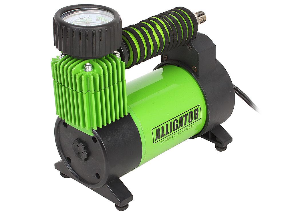 Компрессор автомобильный АЛЛИГАТОР AL-350Z, металлический, 12V, 120W, производ-сть 30 л./мин., спонж. рукоятка, переходники для накач., сумка, 1/8 компрессор автомобильный агрессор agr 30l металлический 12v 140w производ сть 30 л мин led фонарь сумка 1 8