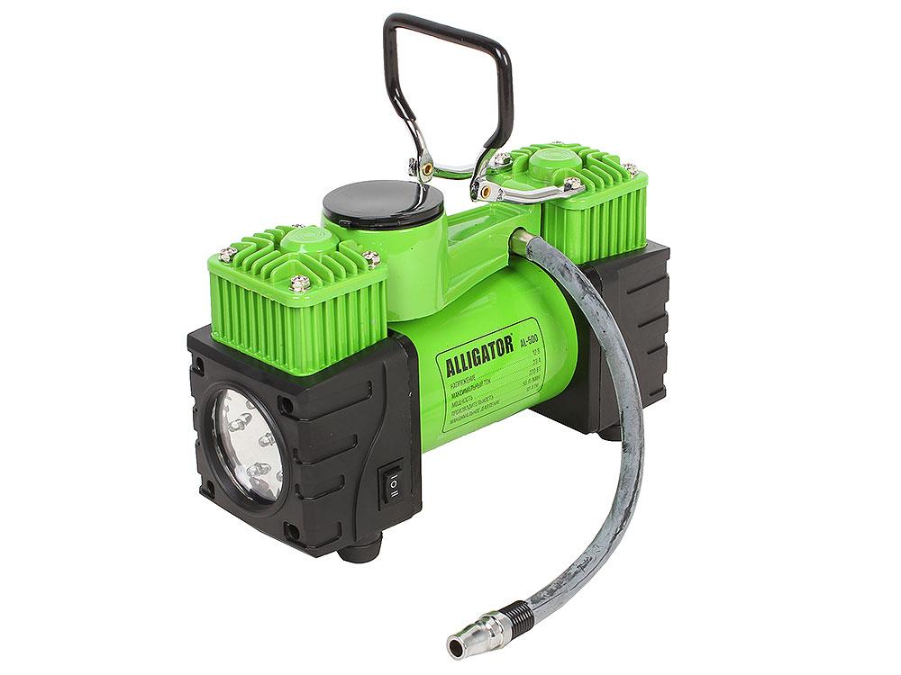 Компрессор автомобильный АЛЛИГАТОР AL-500, металлический, двухпоршневой, 12V, 220W, производ-сть 55 л./мин., шланг 4 м., LED фонарь, переходники для н аквафор идеал