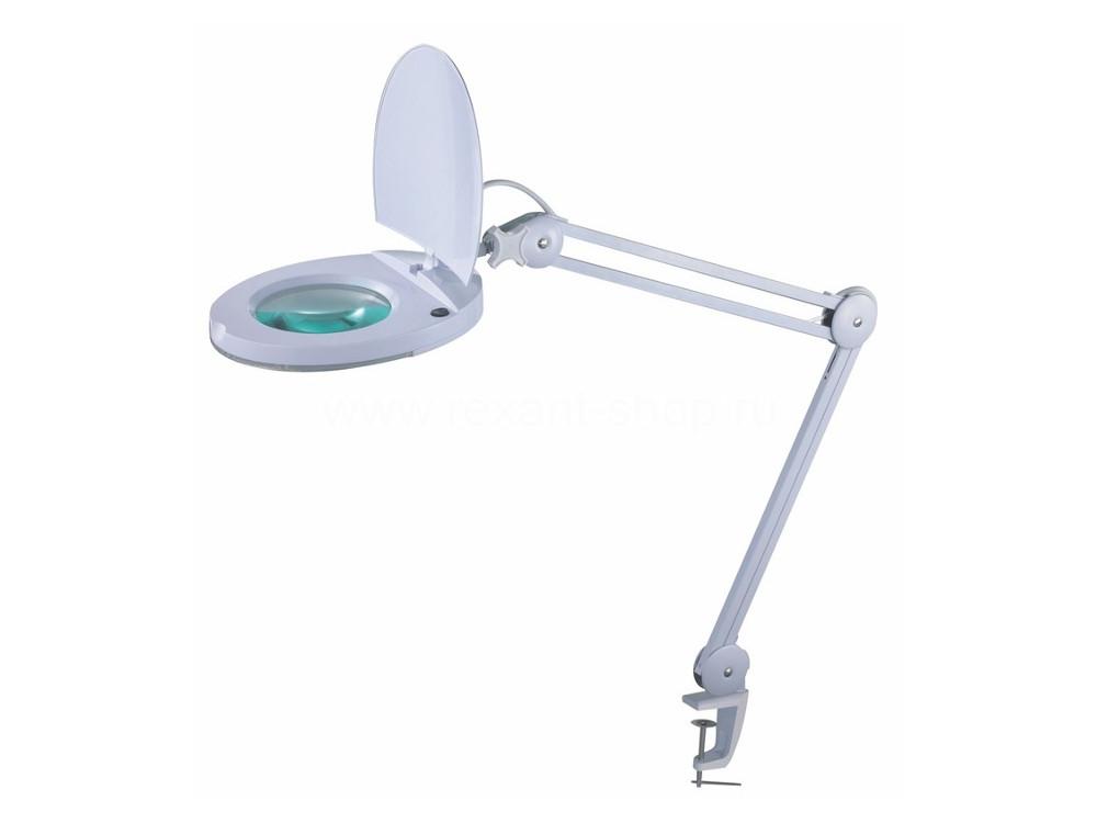 Лупа на струбцине круглая 5D с подсветкой 90LED, белая  REXANT