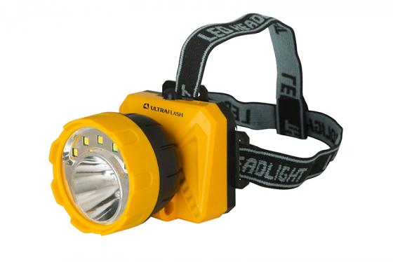 Фонарь ULTRAFLASH LED5372  фонарь налобн.желт /черн. 5SMD + 1 Вт LED. 2 реж. пласт. бокс