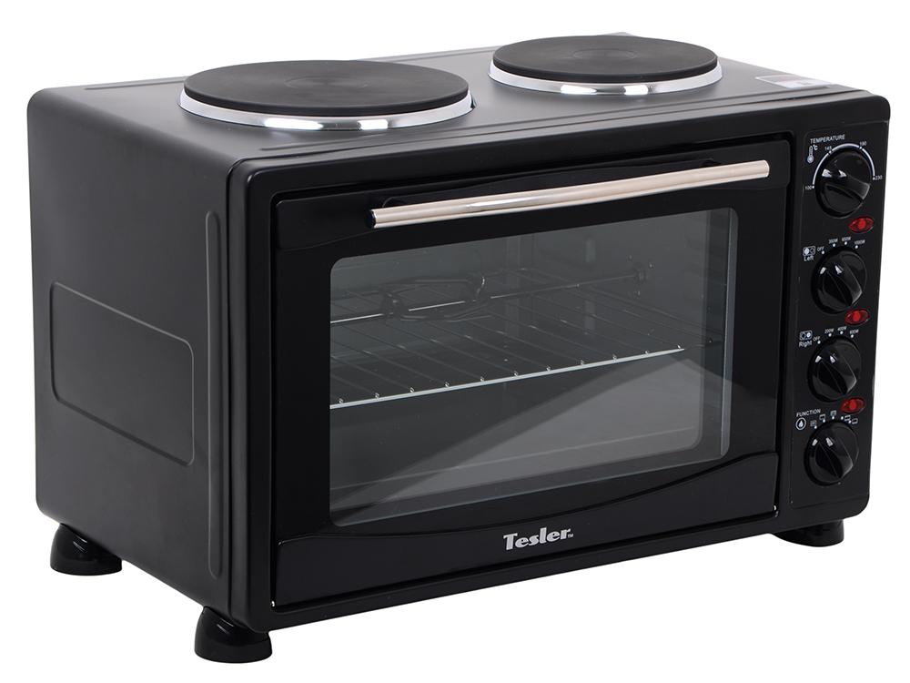 Мини-печь TESLER EOGP-3000 BLACK 3100Вт, 2 конфорки Левая - 1000 Вт Правая - 600 Вт, 30л, 100 - 230°С цена