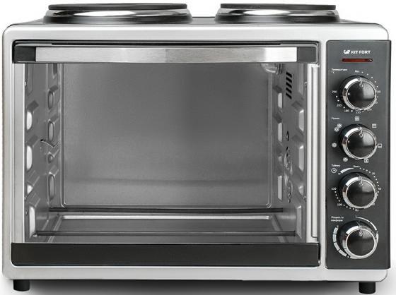 Мини-печь KITFORT КТ-1703 серебристый чёрный фритюрница kitfort кт 2025 серебристый