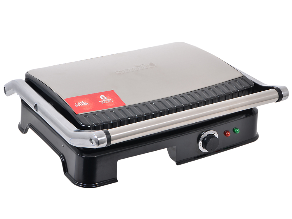 Электрогриль SMILE KG 944 на 6 порций, Термоизолированный корпус, Поддон для сбора жира, Плавная регулировка температуры, Индикатор работы и нагрева,