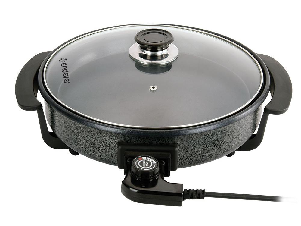 Электросковорода ENDEVER Wokmaster 360, 1500Вт, диам. 36 см, глуб. 7 см, стекл. крышка, антипригар, черный электросковорода first 5109 42 см черный
