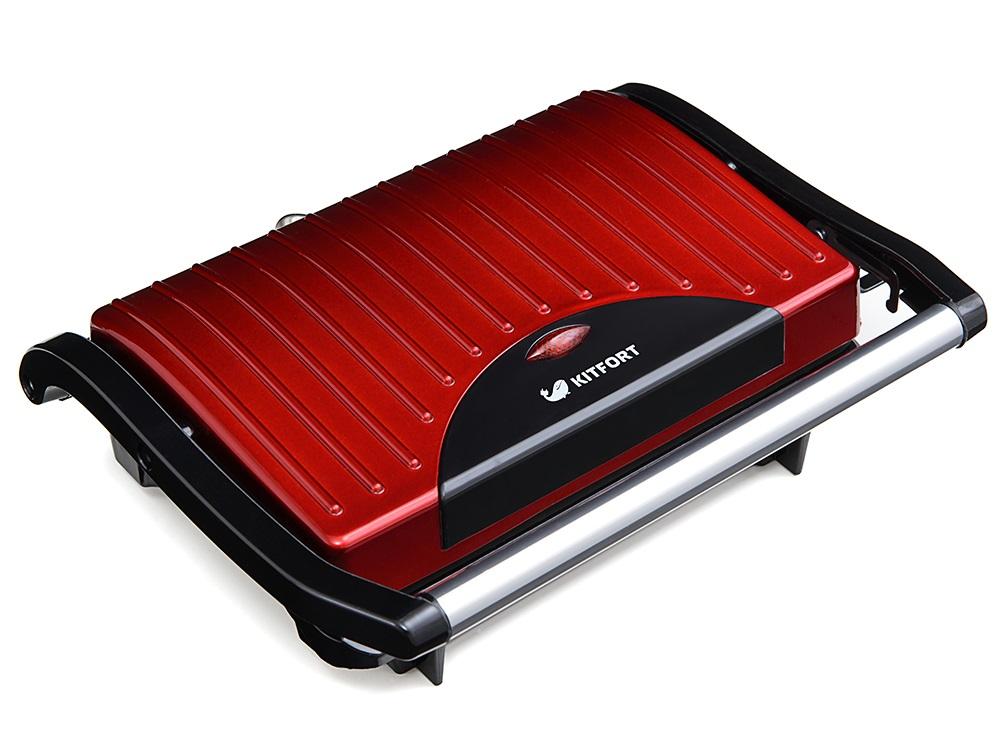 Бутербродница Kitfort Panini Maker KT-1609 красный чёрный вафельницы kitfort бутербродница panini maker кт 1609 3 зеленый