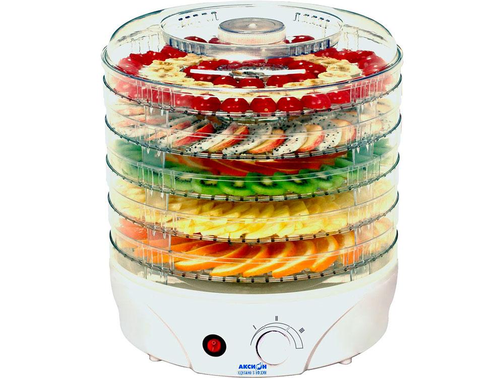 Сушилка для овощей и фруктов Аксион Т33, 5 поддонов, с вентилятором