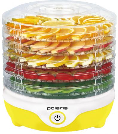 Сушилка для овощей и фруктов Polaris PFD 2405D, 5 поддонов, механика, белый/желтый цена и фото