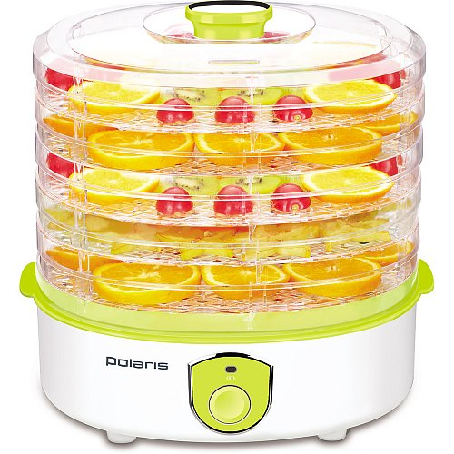 Сушилка для овощей и фруктов Polaris PFD 2205D, 5 поддонов, электро.упр, белый цена и фото