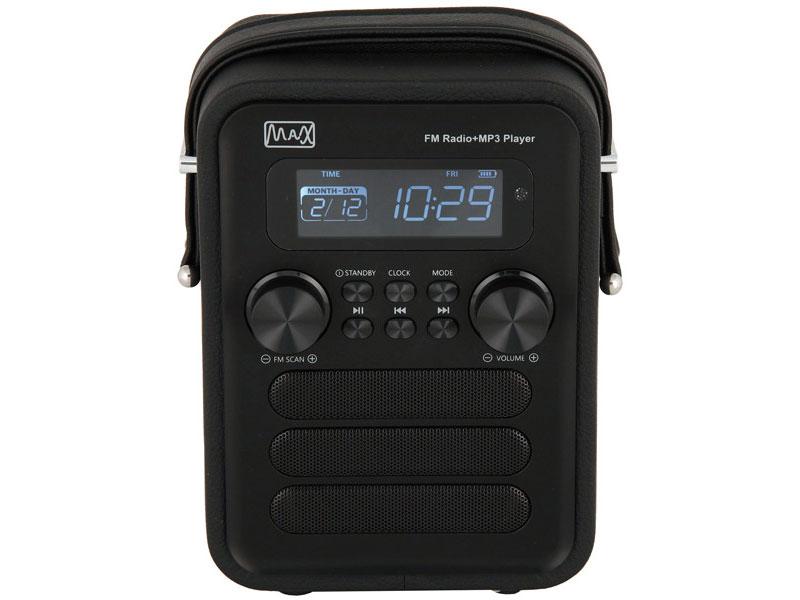 Радиоприемник MAX MR-340 black edition Дисплей с подсветкой, FM радио (87.5-108 МГц), MP3/WMA с USB/microSD, Часы/Будильник/Календарь. радиоприемник max mr 310t 30008