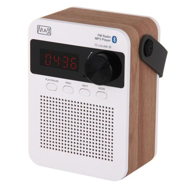 цена на Радиоприемник MAX MR-360 Wood/White, Bluetooth, FM радио, Вход AUX, USB/Micro SD, Время воспроизведения: 8 часов