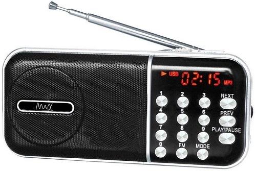 Радиоприемник MAX MR-321 Silver/Black micro SD / USB, AM/FM приёмник, LCD экран, воспроизведение до 6 часов, 5 Вт, встроенный сабвуфер mr5 usb micro sd tf card reader w cell phone strap max 64gb random color