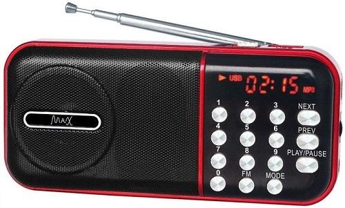 Радиоприемник MAX MR-321 Red/Black micro SD / USB, AM/FM приёмник, LCD экран, воспроизведение до 6 часов, 5 Вт, встроенный сабвуфер 5 0mp cmos digital video camcorder w 4x digital zoom usb av sd red 2 4 tft lcd