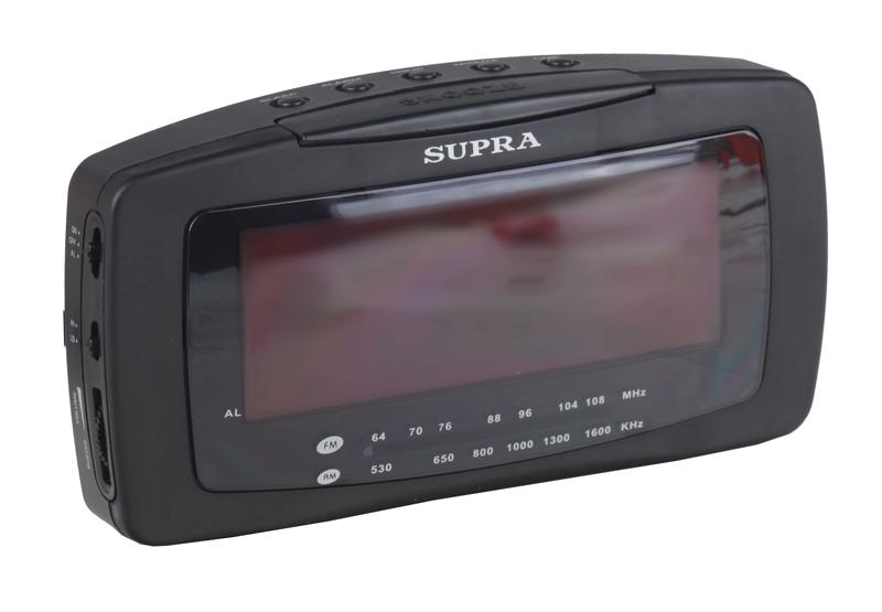 Часы с радиоприемником SUPRA SA-28FM black red