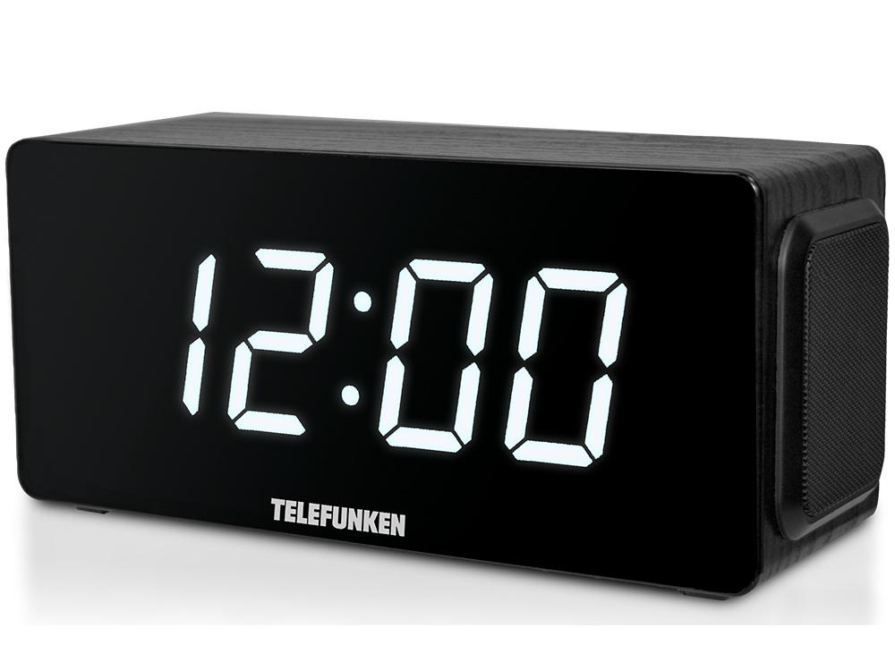 Часы с радиоприемником TELEFUNKEN TF-1566U (черное дерево с белым)