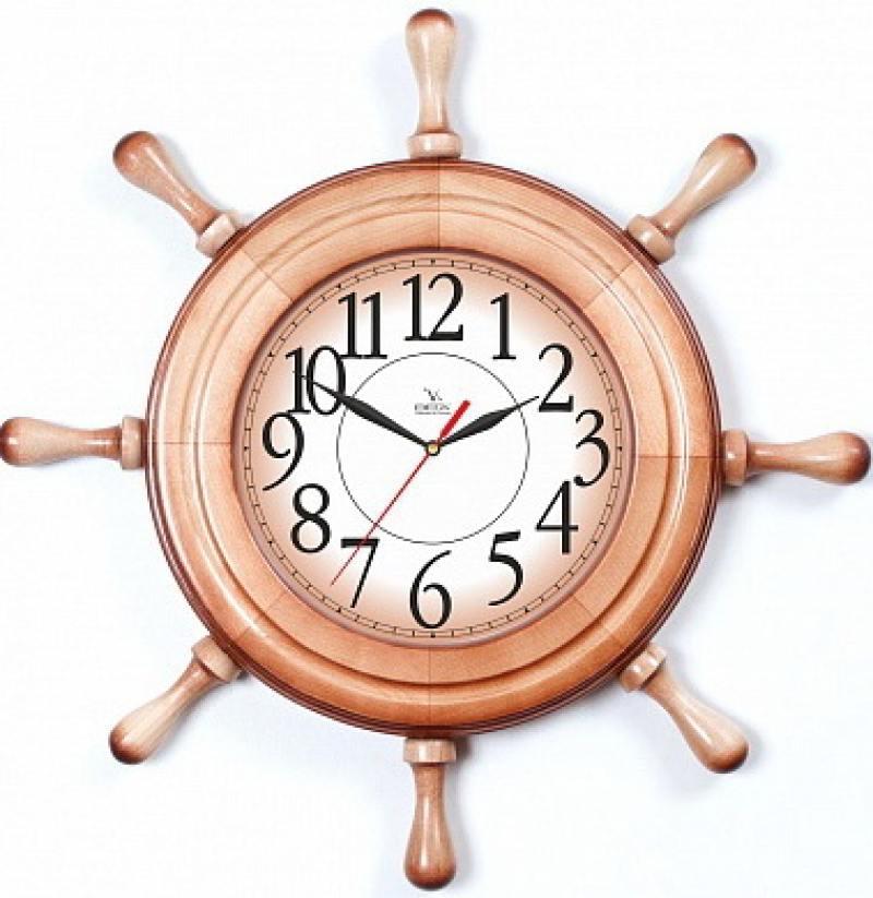 Часы Вега Штурвал Арабская классика коричневый Д 7 НД 1 кронштейн kromax vega 50 белый