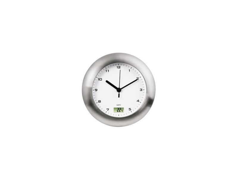 Часы Hama H-113914 Bathroom настенные аналоговые цифровой термометр защита от влаги серебряный