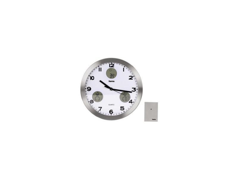 Часы Hama H-113982 AG-300 настенные аналоговые с метеостанцией серебристый