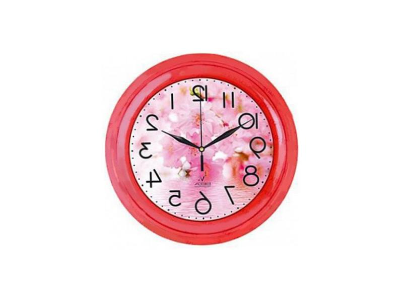 """Часы Вега """"Цветы"""" розовые тона П 6-1-104"""