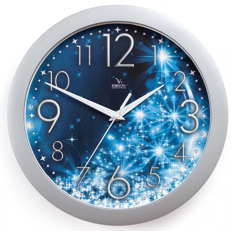 Часы ВЕГА П 1-серебро/7-231 Зимние/Синие/Снежинки