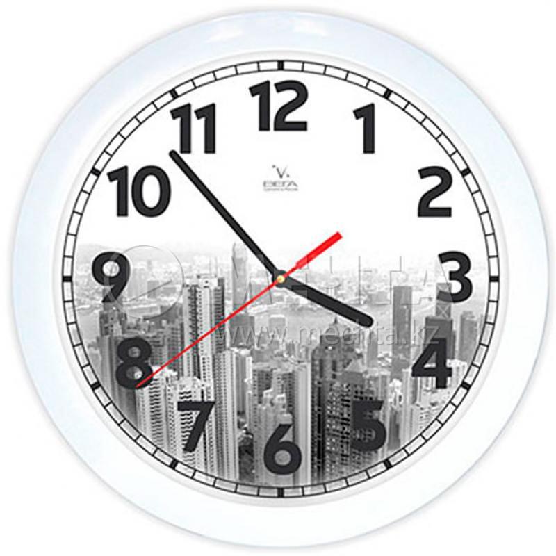 Часы настенные Вега П 1-7/7-214 Город белый чёрный часы настенные вега п 4 14 7 86 новогодние подарки
