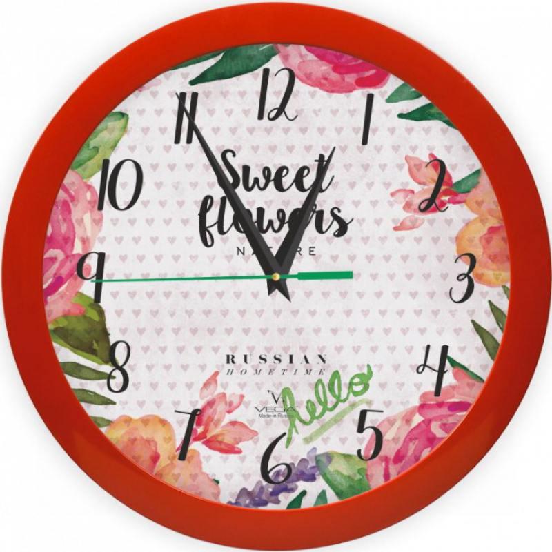 Часы Вега П 1-1/7-298 Цветы и сердца разноцветный