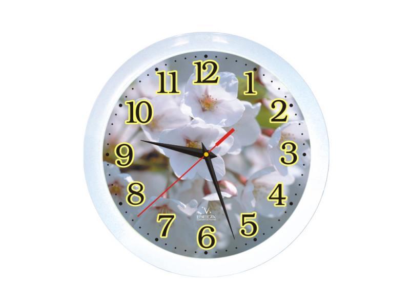 Часы ВЕГА П 1-7/7-3 Белые Цветы