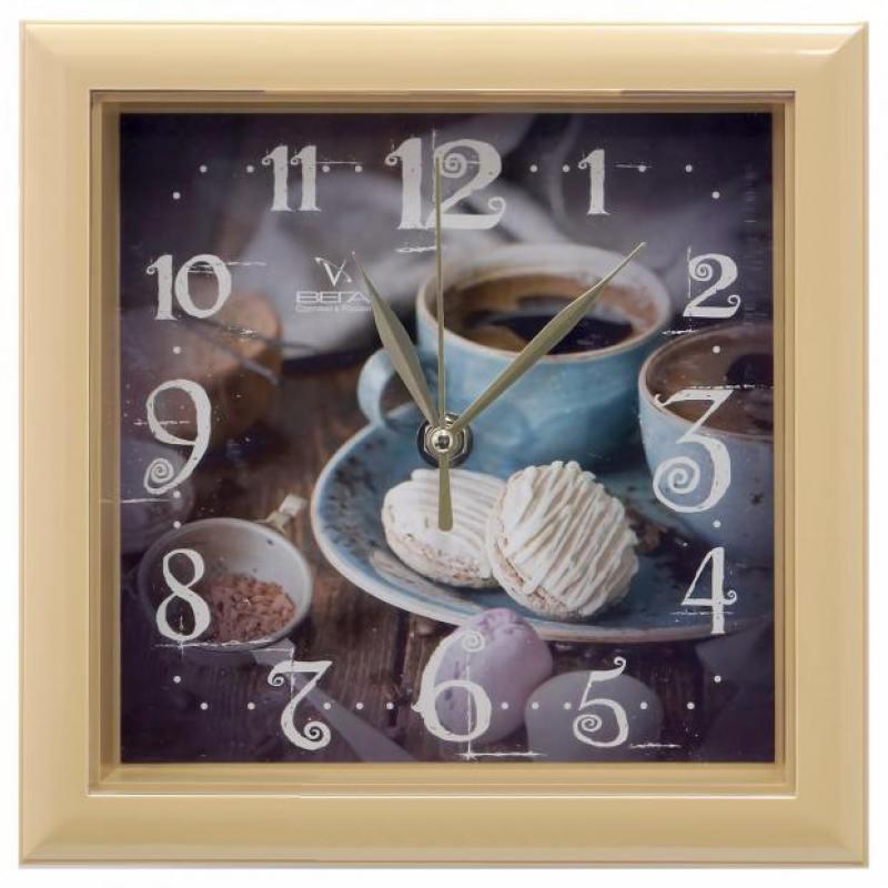Часы настенные Вега П3-14-131 Чашка кофе коричневый