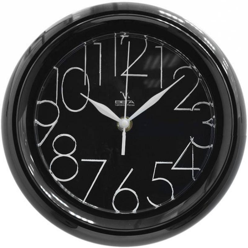 Часы настенные Вега П6-6-30 чёрный белый