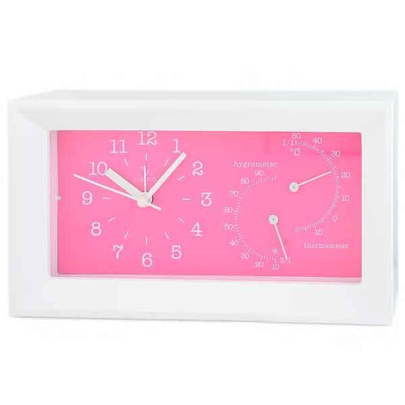 Будильник с термометром и гигрометром Вега 6714 розовый 20.2x5.5x11.2 см