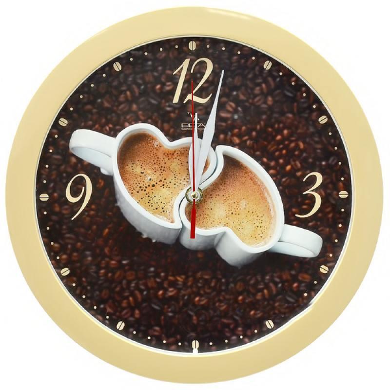 Часы настенные Вега П 1-14/7-225 бежевый часы настенные вега п 4 14 7 86 новогодние подарки