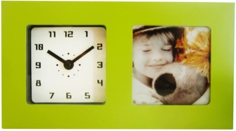Часы-фоторамка маленькие Вега 6409 зеленые 19.7x3.8х11.1 см