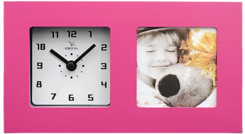 Часы-фоторамка маленькие Вега 6409 розовые 19.7x3.8х11.1 см