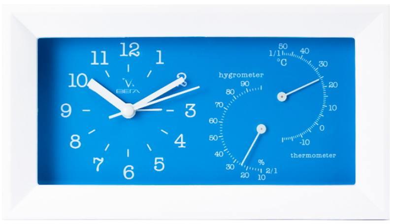 Будильник с термометром и гигрометром Вега 6714 синий 20.2x5.5x11.2 см