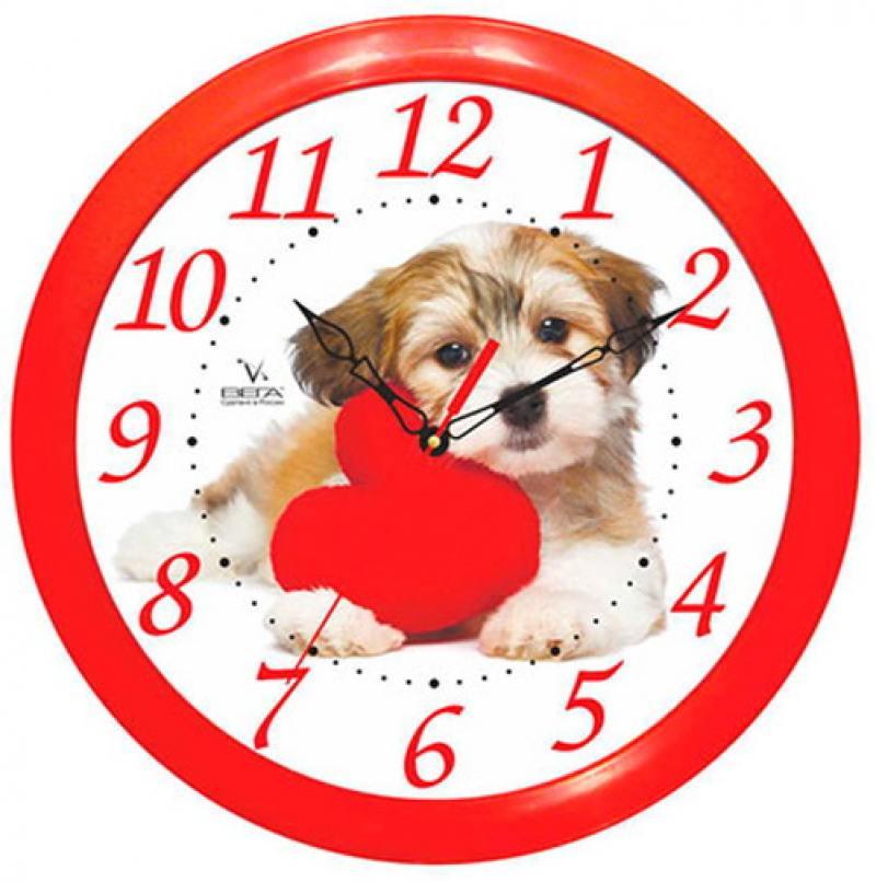 Часы настенные Вега Собака и Красное Сердце П 1-1/7-217