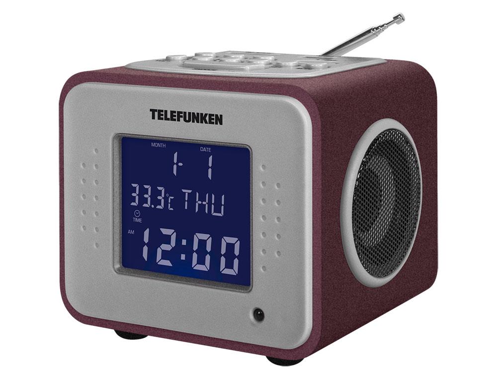 Часы с радиоприемником Telefunken TF-1575U  (бордовый с фиолетовым)