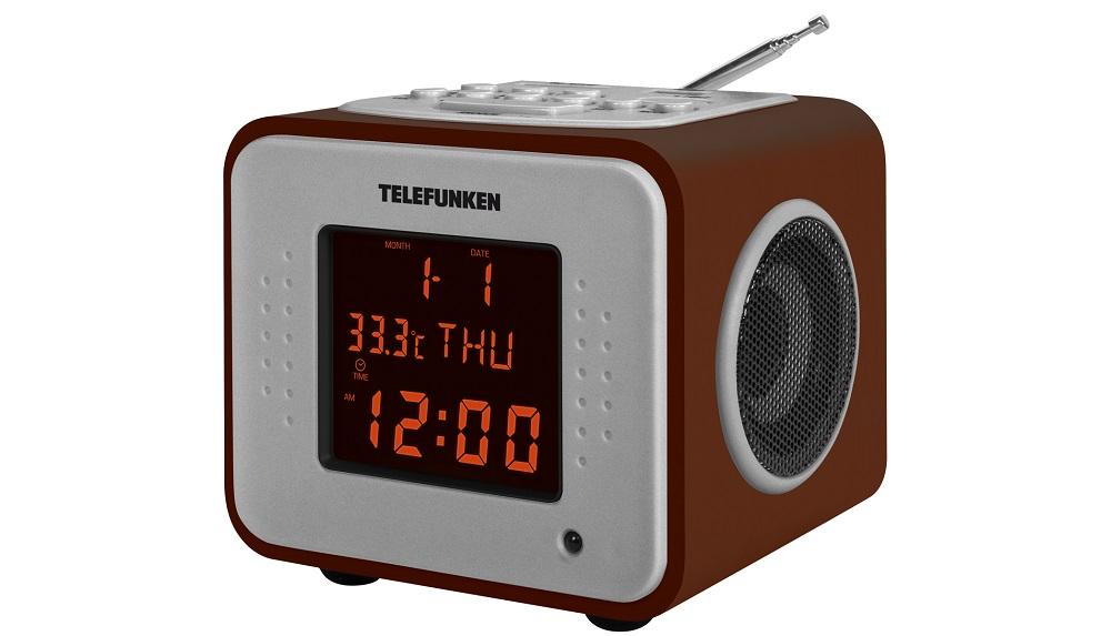 Часы с радиоприемником TF-1575U(темное дерево с янтарным)