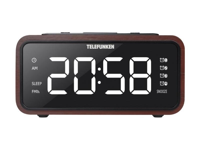 Часы с радиоприемником TF-1586(темное дерево с белым)