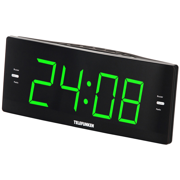 Часы с радиоприемником Telefunken TF-1587 Black/Green цена и фото