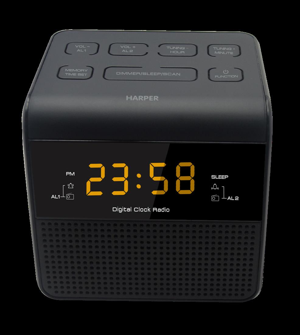 Радиобудильник HARPER HRCB-7750 (Радио в качестве мелодии будильника, настройка двух будильников, 20 радиостанций, сеть или батарейки)