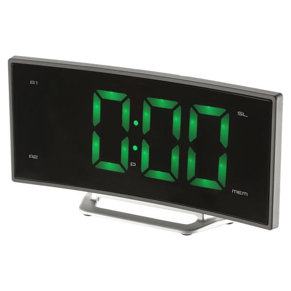 Часы с радиоприемником MAX CR-2905g Зеленый LED дисплей 1.8, Slim дизайн, 2 будильника, FM радио часы max cr 2914