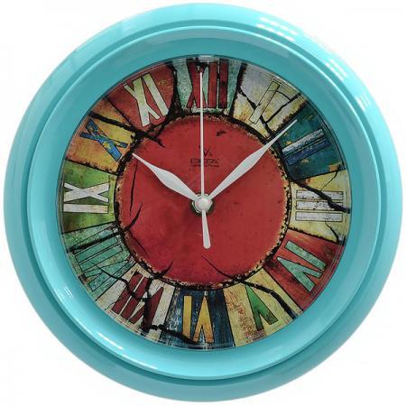 Часы настенные Вега Калейдоскоп П6-16-27 бирюзовый рисунок разноцветный