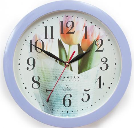 Часы настенные Вега П1-13/7-278 Сиреневые тюльпаны рисунок