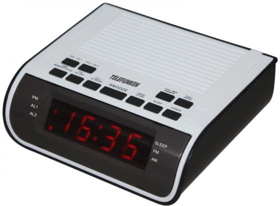 Часы с радиоприемником TF-1591(черный\белый с красным) часы с радиоприемником rolsen cr 180 черный